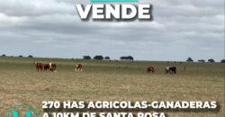 270 HAS AGRICOLAS-GANADERAS A 10KM DE SANTA ROSA