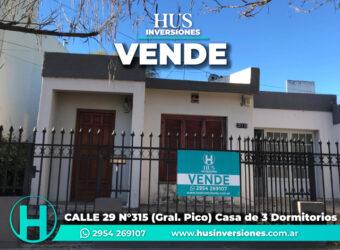 CALLE 29 N°315 (Gral. Pico) – Casa de 3 Dormitorios